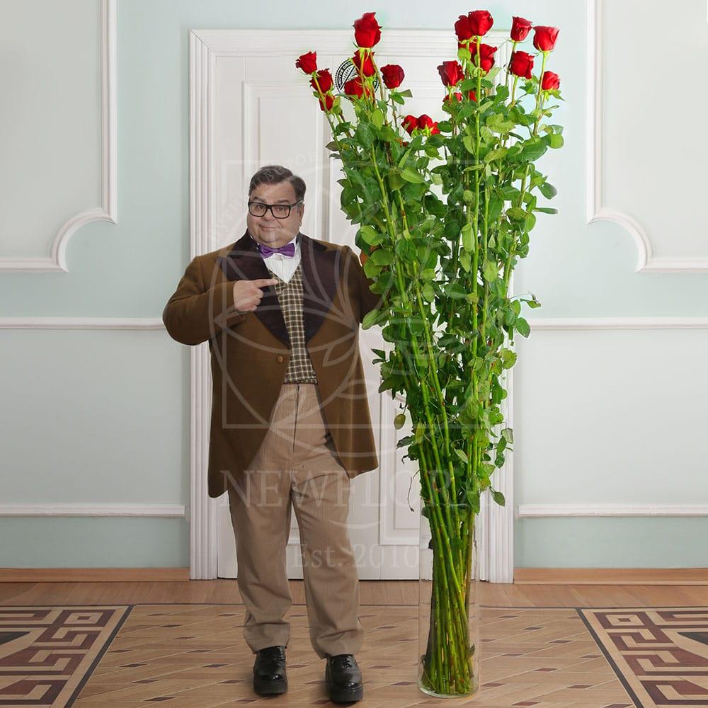 Букет 25 красных роз высотой 210см (by Сергей Рост)