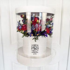 Шляпная коробка аквариум с ирисами и мускари 25×35см