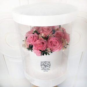 Шляпная коробка аквариум со стабилизированными розами и гортензиями (долгоживущие цветы) 25×35см