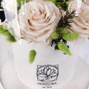 Шляпная коробка аквариум со стабилизированными розами (долгоживущие цветы) 25×45см