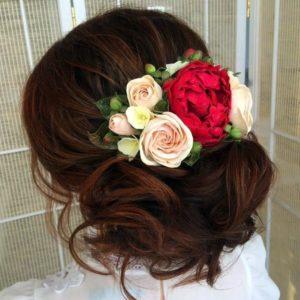 Свадебное украшение волос заколка с пионовидными розами