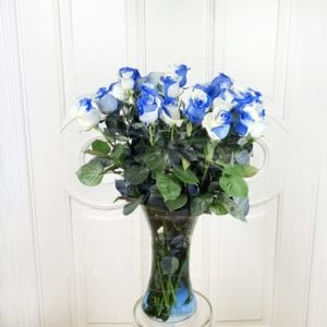 Бело-голубые розы поштучно (Premium)