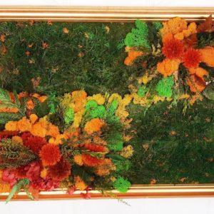 Картина из стабилизированного цветного мха ягеля и зелени 40×60см