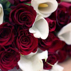 Букет 35 красных роз 50см с каллами