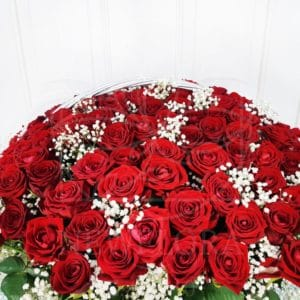 Корзина цветов 151 красная роза РФ с зеленью