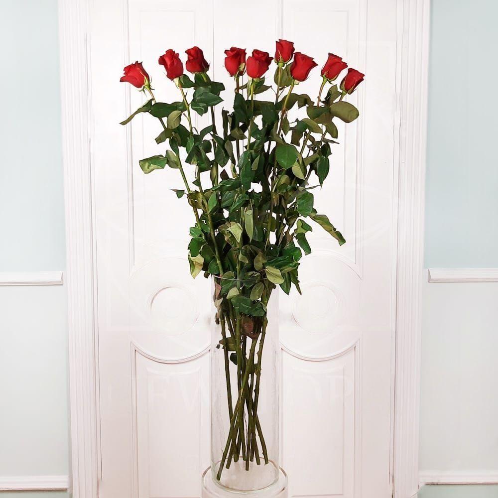 Букет 9 красных роз высотой 120см