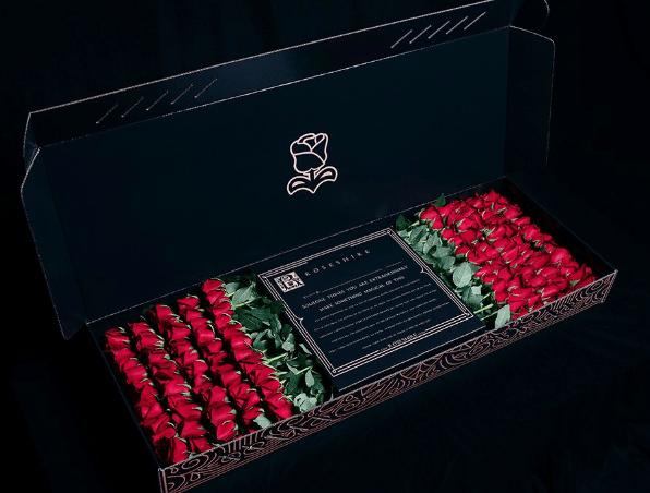 101 красная роза в прямоугольной коробке