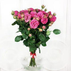 Букет 19 кустовых пионовидных розовых роз