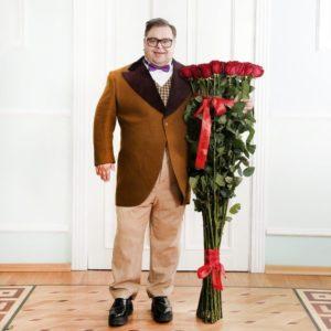 Букет 25 красных роз высотой 140см
