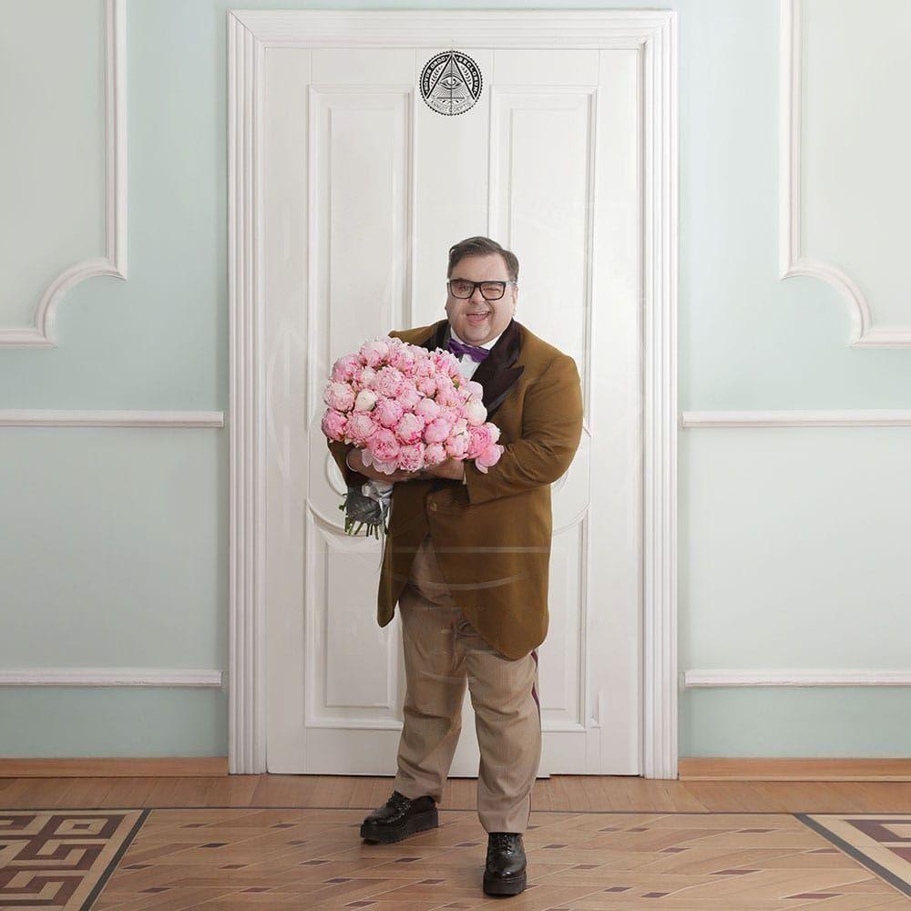 Букет 21 крупный розовый пион от Сергея Роста
