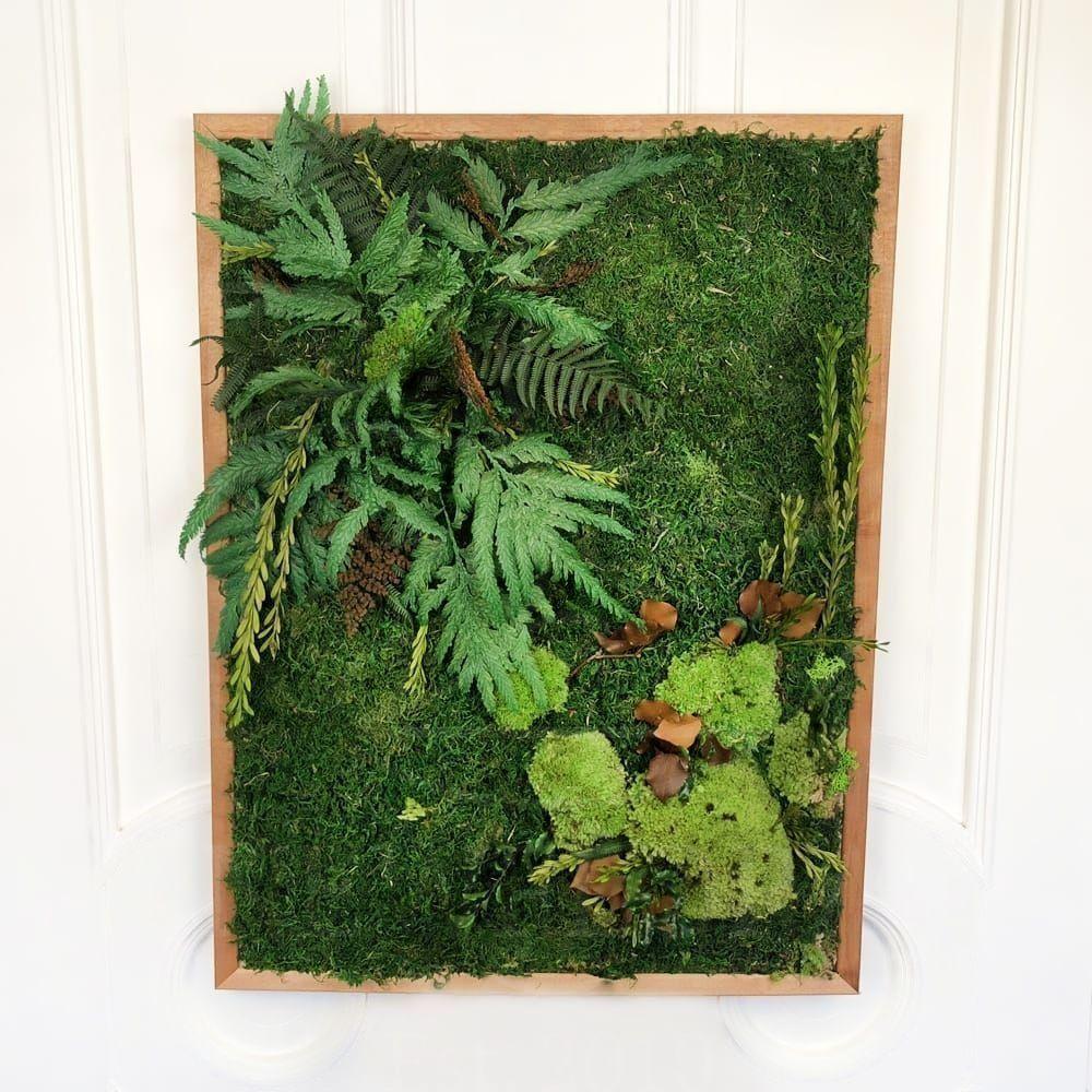 Картина из стабилизированного и сухого мха с зеленью 60×80см