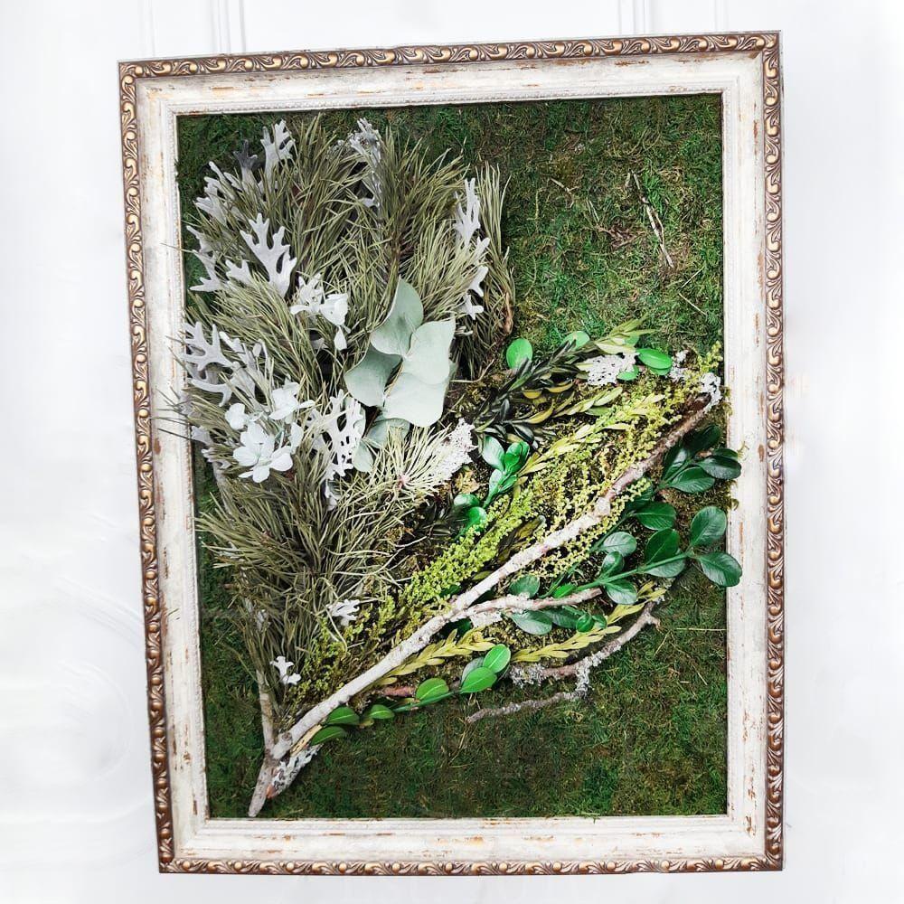 Картина лесная из стабилизированной зелени и веток сосны 35×45см