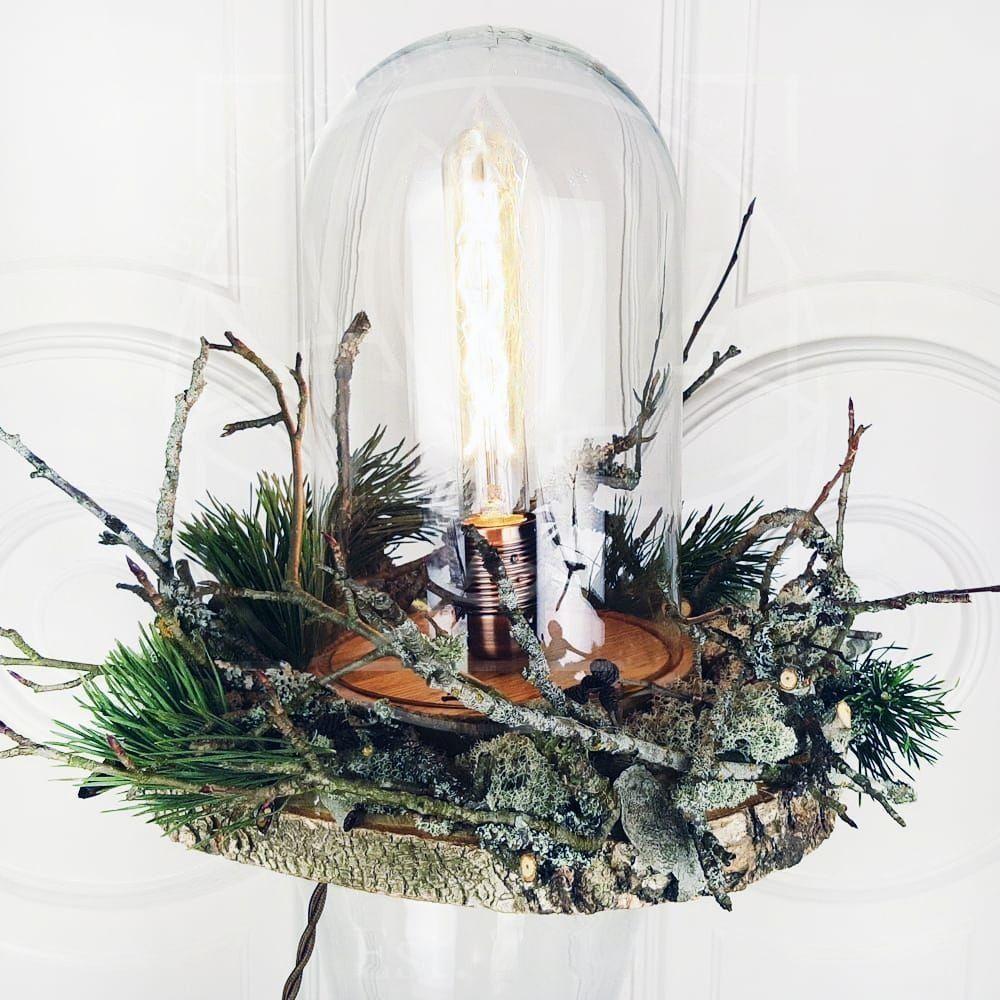 Ретро светильник лампа Эдисона в колбе на березовом спиле с ягелем, питание от сети