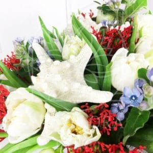 Букет 21 тюльпан с незабудками