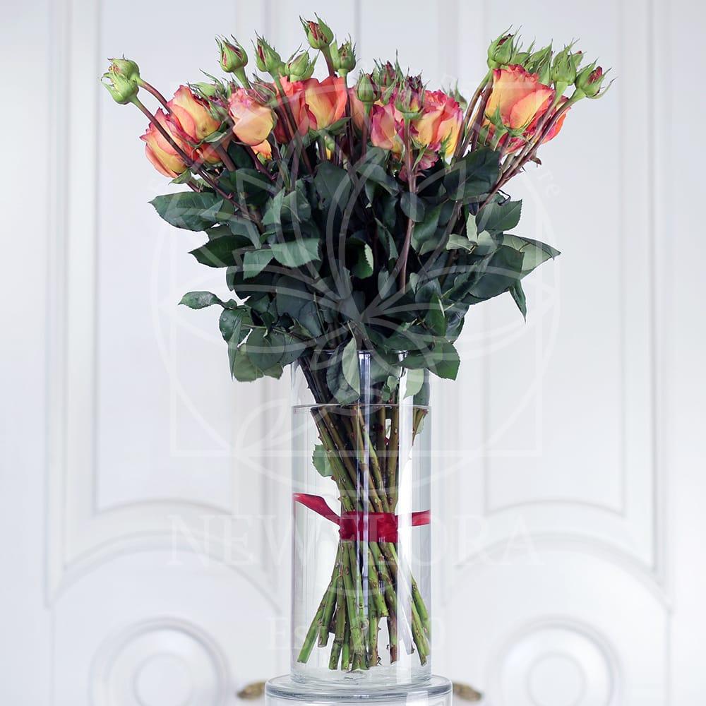 21 персиковая роза Victorian Free Spirit (Premium) в вазе