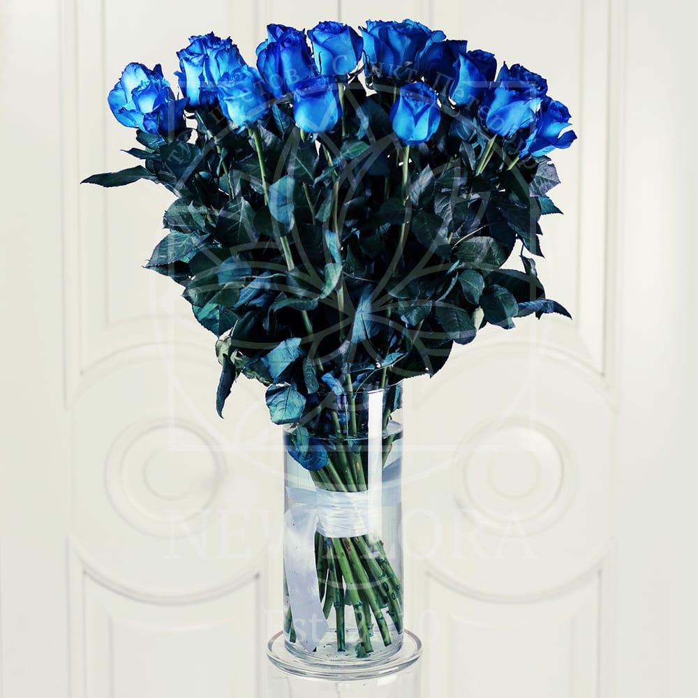 Букет 25 голубых роз (Premium) в вазе