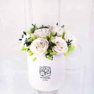 Шляпная коробка со стабилизированными розами (долгоживущие цветы)