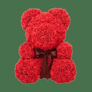 Красный мишка из фоамирановых роз с бантом 40 см