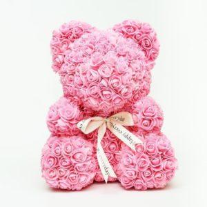 Розовый мишка из фоамирановых роз с бантом 40 см (с ароматом)