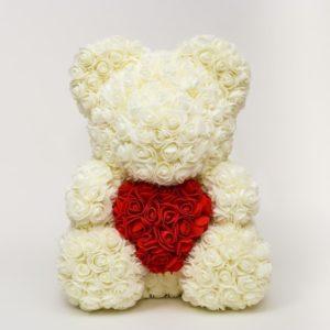 Белый мишка из фоамирановых роз с сердцем 40 см (с ароматом)