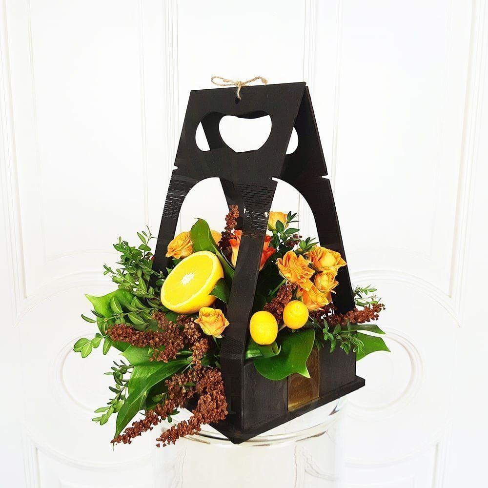 Цветочная сумочка с апельсинами и розами