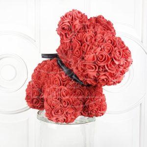 Собачка красная из фоамирановых роз 42 см (с ароматом)