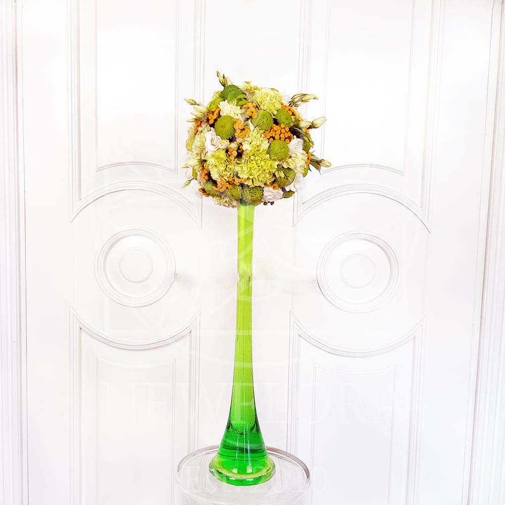 Круглая композиция на высокой вазе (заказчик Ginza)