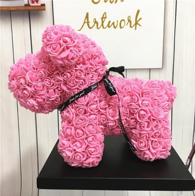 Собачка розовая из фоамирановых роз 42 см (с ароматом)