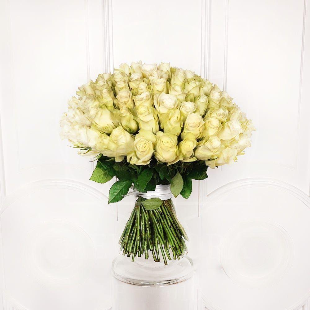 Букет 101 кенийская белая роза 50см