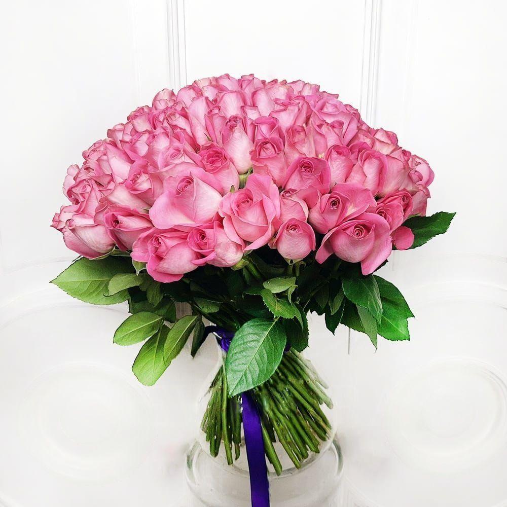 Букет 101 кенийская розовая роза 50см