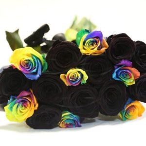 Букет 17 роз черных и радужных