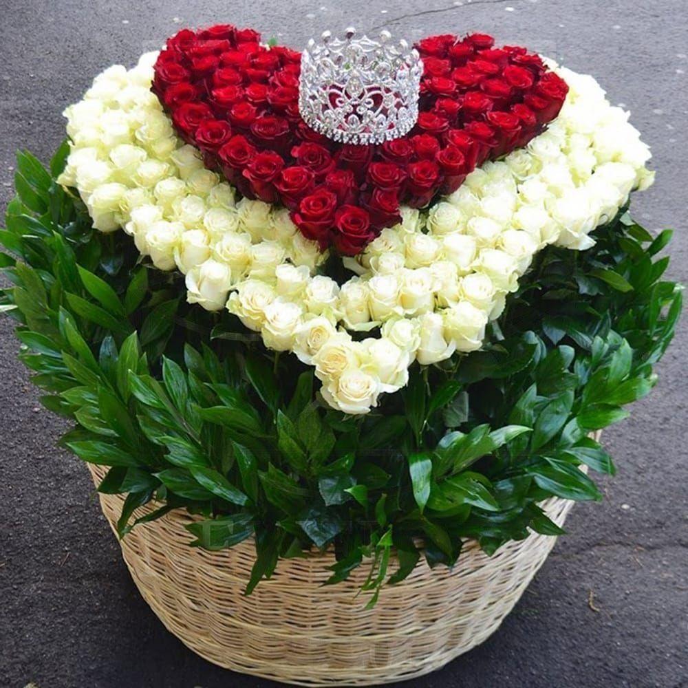 Корзина цветов 201 роза сердце