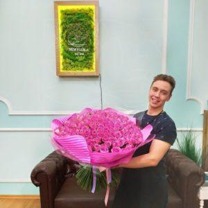 Букет 201 розовая роза (80см)