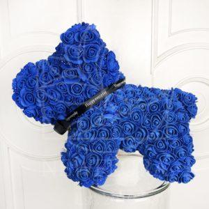 Собачка синяя из фоамирановых роз 42 см (с ароматом)