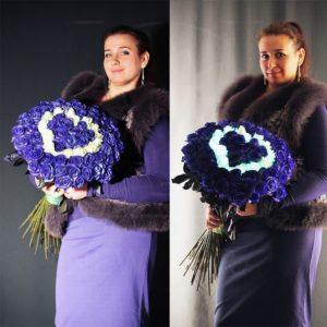 Букет 71 синяя роза сердце светящееся в темноте
