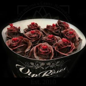 Роза натуральная восковая сердечко #7