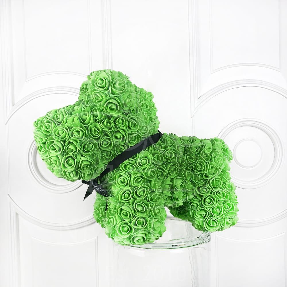 Собачка зеленая из фоамирановых роз 42 см (с ароматом)