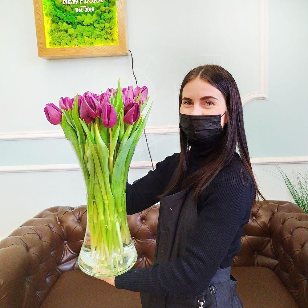 Высокие фиолетовые тюльпаны поштучно (от 50см)
