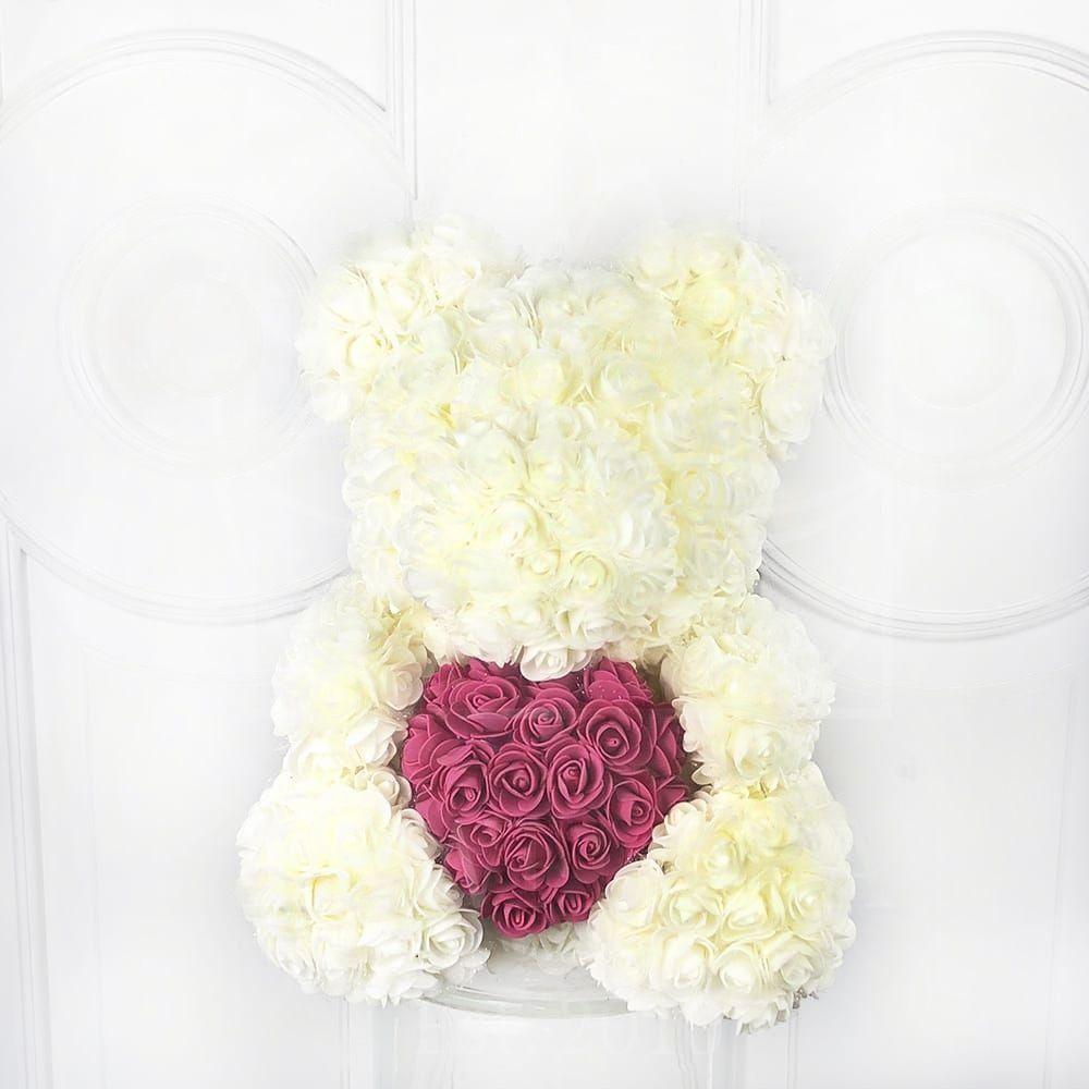 Белый мишка из фоамирановых роз с розовым сердцем 40 см (с ароматом) 3 400 руб.