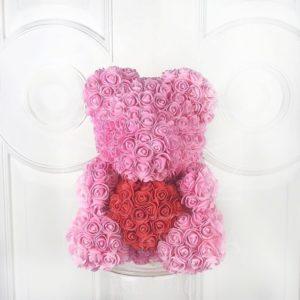Розовый мишка из фоамирановых роз с красным сердцем 40 см (с ароматом)