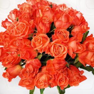 Букет 51 кенийская рыжая роза 50см