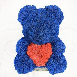 Синий мишка из фоамирановых роз с сердцем 40 см (с ароматом)