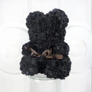 Мишка черный из фоамирановых роз 40 см (с ароматом)