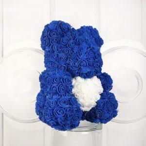 Мишка синий из фоамирановых роз с сердцем 40 см (с ароматом)