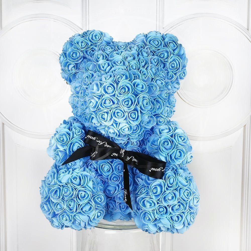 Голубой мишка из фоамирановых роз с бантом 40 см (с ароматом)