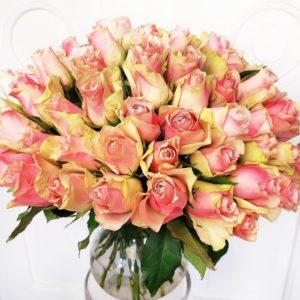 Букет 75 нежно розовых роз 50см