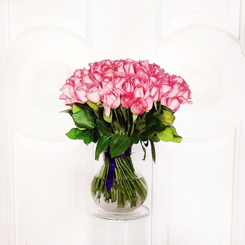 Букет 75 кенийских розовых роз 50см