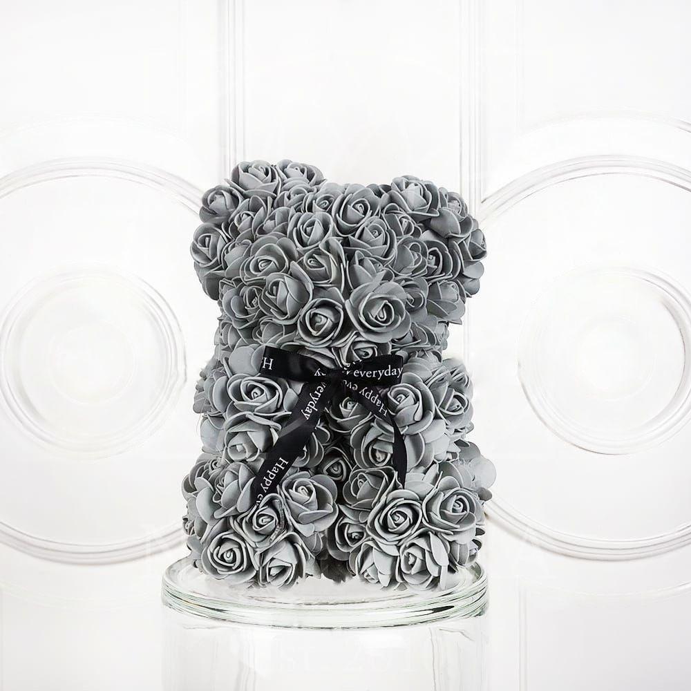 Мишка серый из фоамирановых роз маленький 25 см (с ароматом)