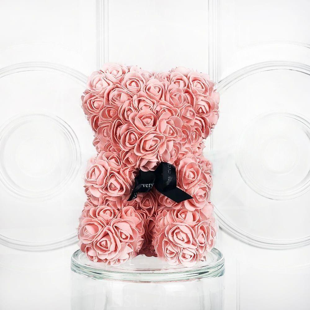 Мишка персиковый из фоамирановых роз маленький 25 см (с ароматом)