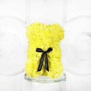 Мишка желтый из фоамирановых роз маленький 25 см (с ароматом)